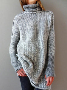Fashion High-neck Knitting Sweater Tops LIGHT GRAY M