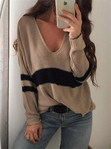 V-neck Hollow Striped Sweater Tops COFFEE XL