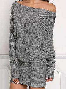 Long Sleeves Off-the-shoulder Bodycon Waisted Mini Dress GRAY L