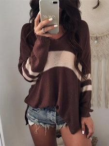 V-neck Hollow Striped Sweater Tops COFFEE S