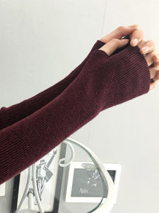 Slender Solid Color Sleevelet Accessories MAROON FREE SIZE