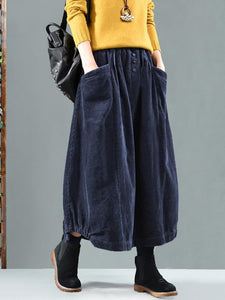 Vintage Corduroy Solid Skirt NAVY BLUE FREE SIZE