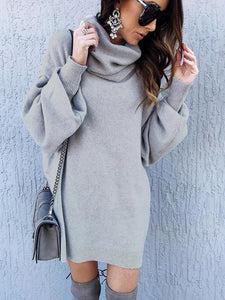 High-neck Solid Color Long Sleeves Knitting Sweater Tops LIGHT GRAY M