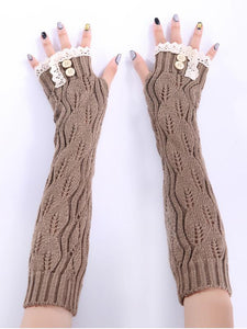 Knitted Half Finger Lace 7 Colors Sleevelet Accessories DEEP GRAY