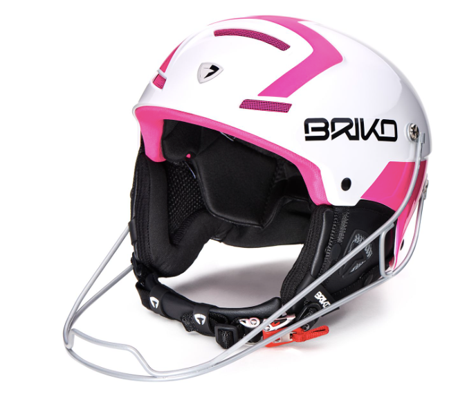Briko Slalom Race Helmet, White and Pink