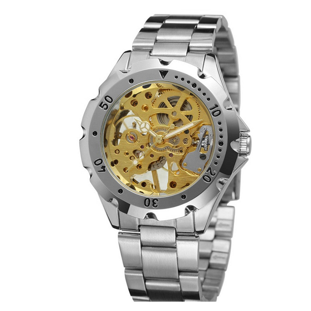 Men Automatic Mechanical Wrist Watch with Stainless Steel Band (Golden+Silver)