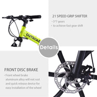 Max4out Mountain Bike Folding Bikes, Featuring 6 Spoke 21 Speed Shining SYS Double Disc Brake Fork Rear Suspension Anti-Slip (Yellow, 26 in)