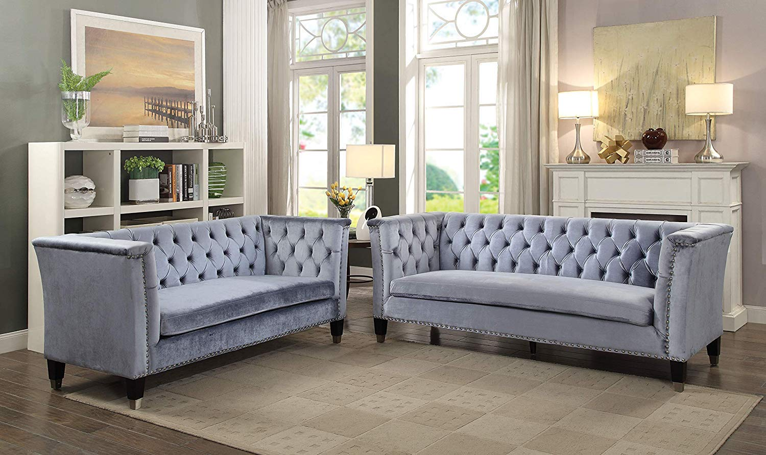 ACME Honor Sofa - 52785 - Blue-Gray Velvet