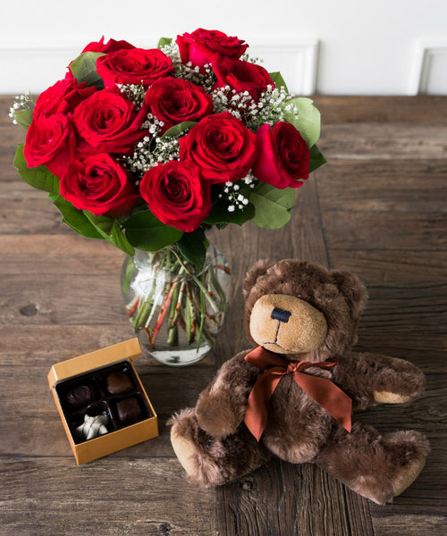 One Dozen Red Roses with Godiva Chocolate and Stuffed Teddy Bear