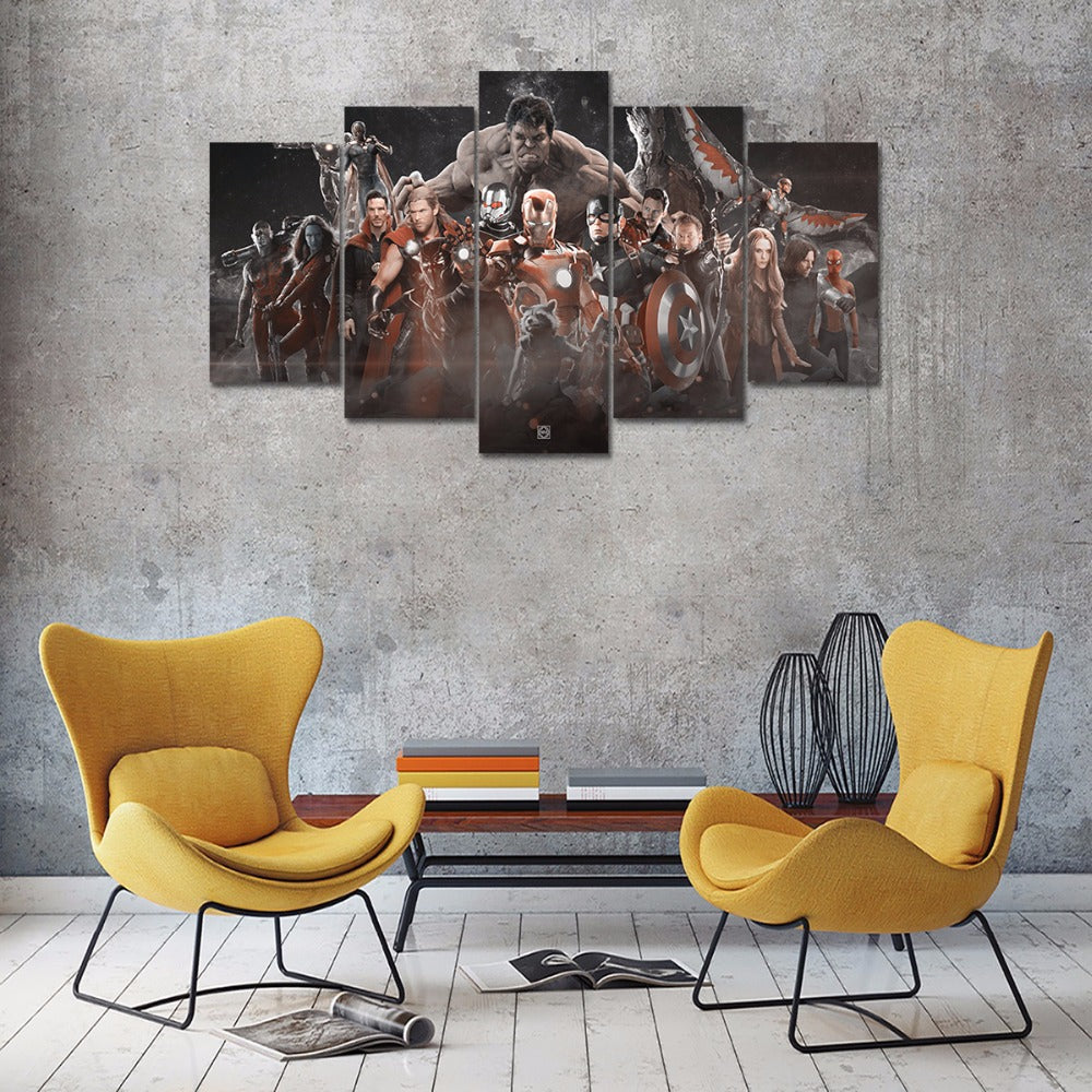 5P Moive Poster Canvas Painting 5Pcs Marvel Avengers Wall Art Modular Pictures