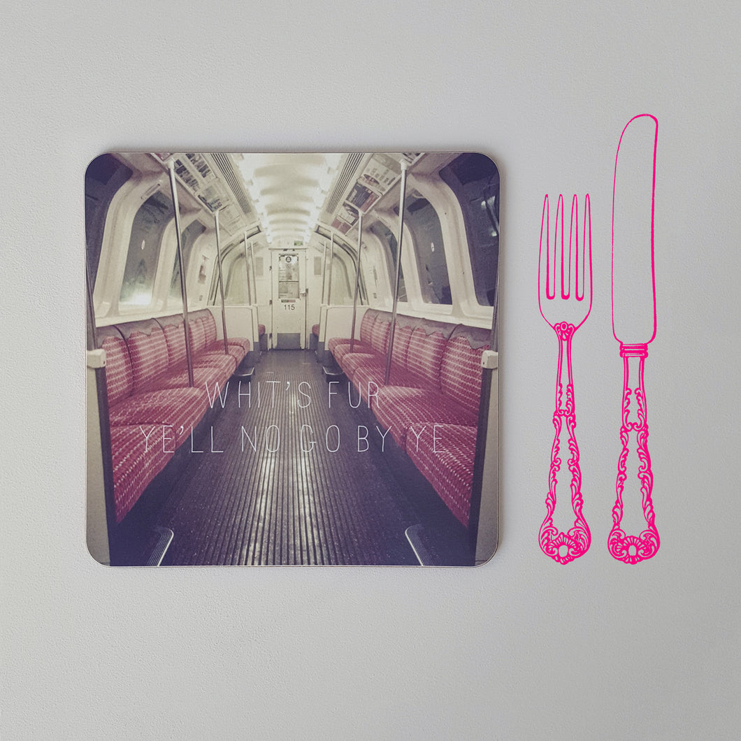 Banter Placemat Empty Subway Car