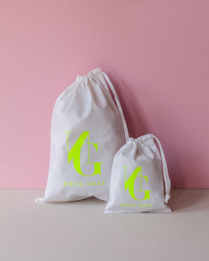 Signature Drawstring Tote Bag – Neon Gray