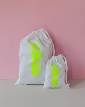 Signature Drawstring Tote Bag – Neon Yellow Pineapple