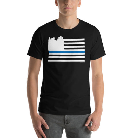 Detroit Skyline and Thin Blue Line T-Shirt (Unisex) - Forbes Design