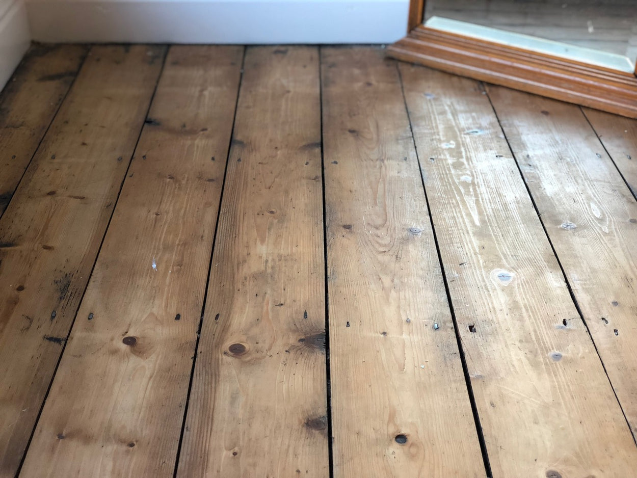 reclaimed floorboards cut from beams