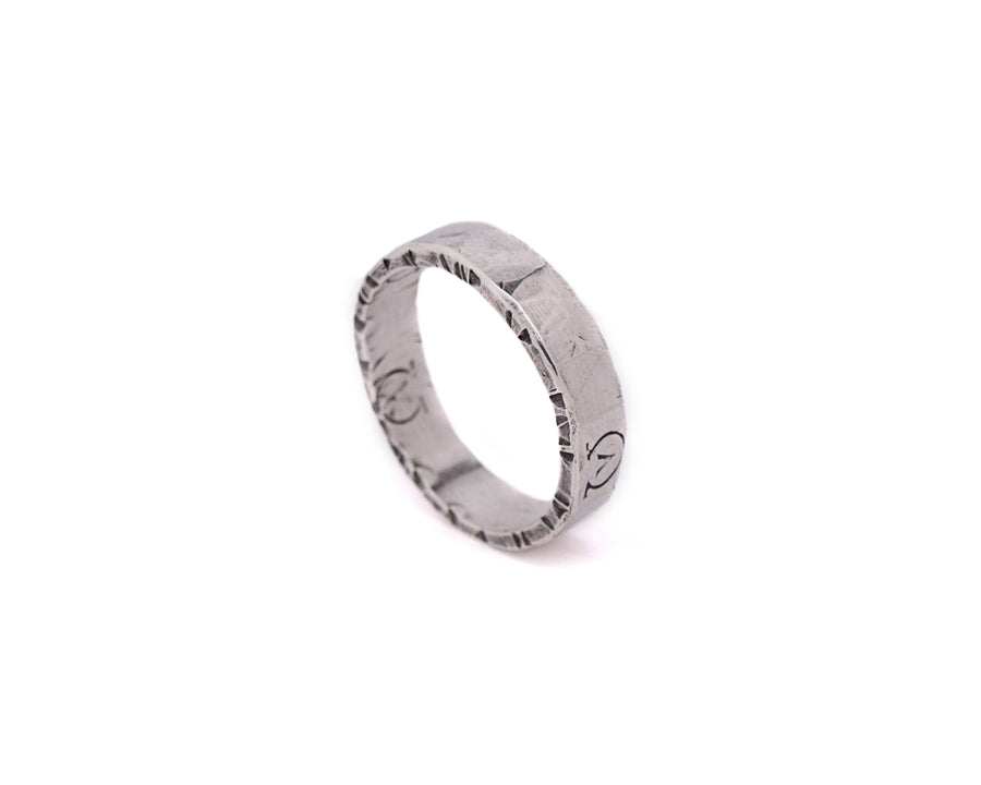 Silver Hammered Ring - AAONYX