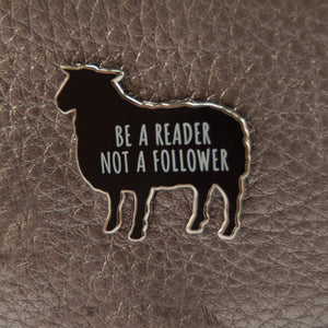 'Be a Reader, Not a Follower' Lapel Pin