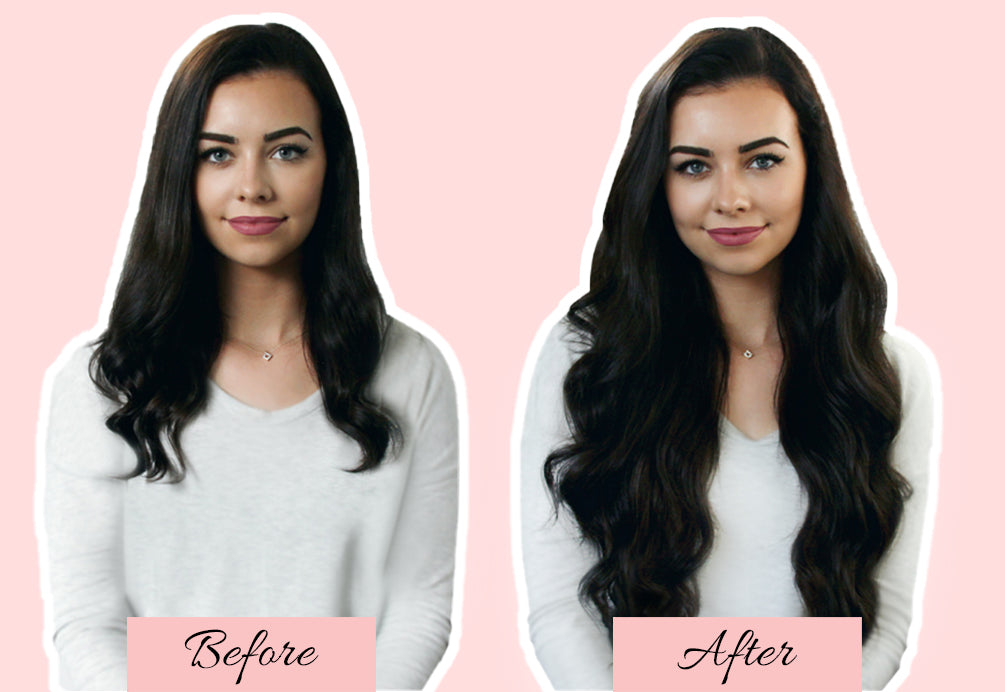 hair extensions before and after, short hair to extensions, long hair extensions