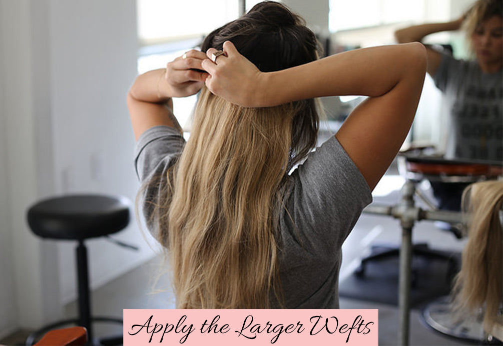 how to apply large wefts in thin hair, in what order to apply hair wefts, hair extensions for thin hair, how to hide hair extensions in thin hair