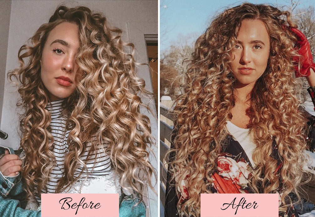 applying hair extensions in natural wavy hair, how to blend your extensions with your curly hair