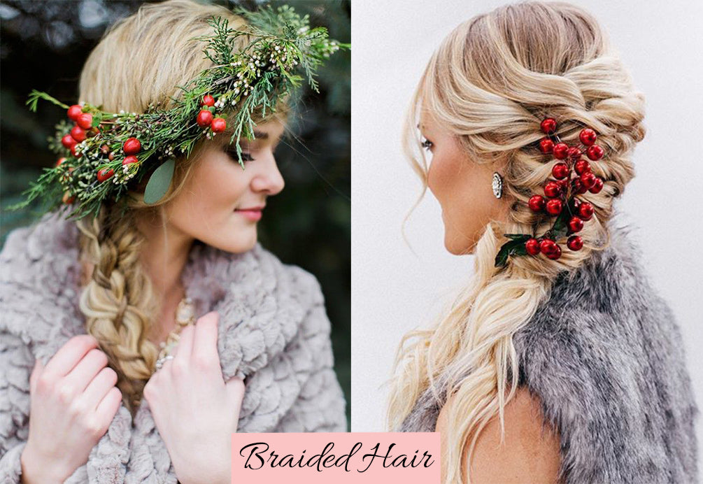 christmas themed hairstyles, remy braiding hair, hairstyles with clip in extensions, braid extensions styles