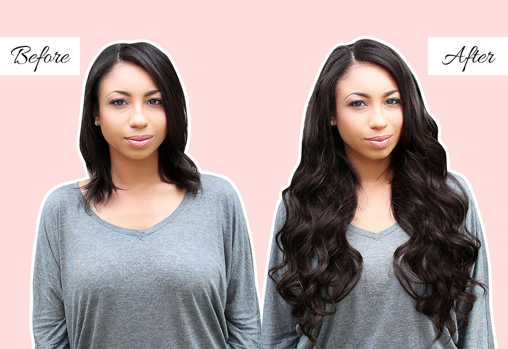 adding extensions to short hair, hair extensions to thicken hair, professional hair extensions before and after