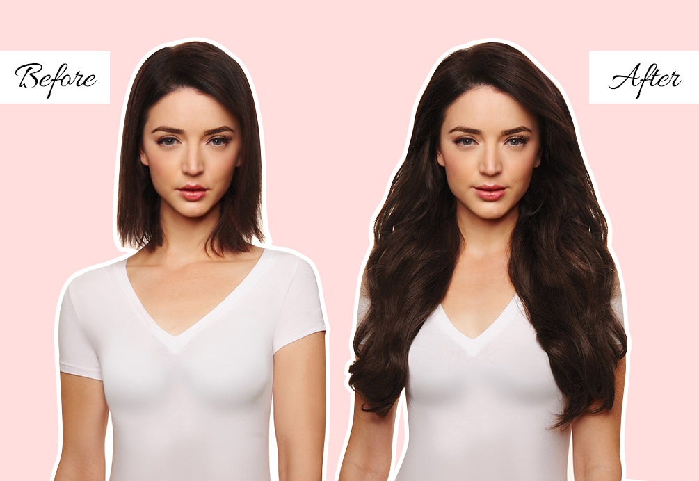 dark brown hair extensions, hair extensions for very fine thin hair, before and after extensions