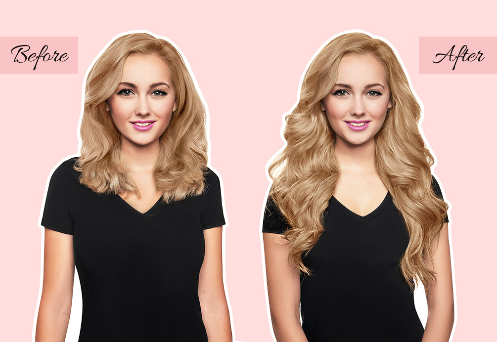 curly hair extensions before and after, hair extensions before and after short to long, blonde hair extensions before and after