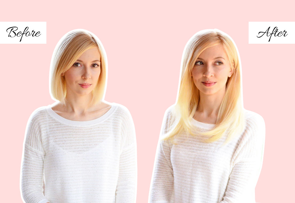 how to make extensions look real in short hair, hair extensions before and after short to long, hair extensions very short hair before and after