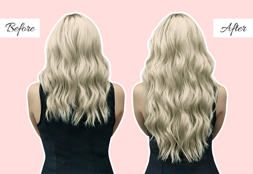 how to style hair extensions to look natural, 20 in hair extensions before and after