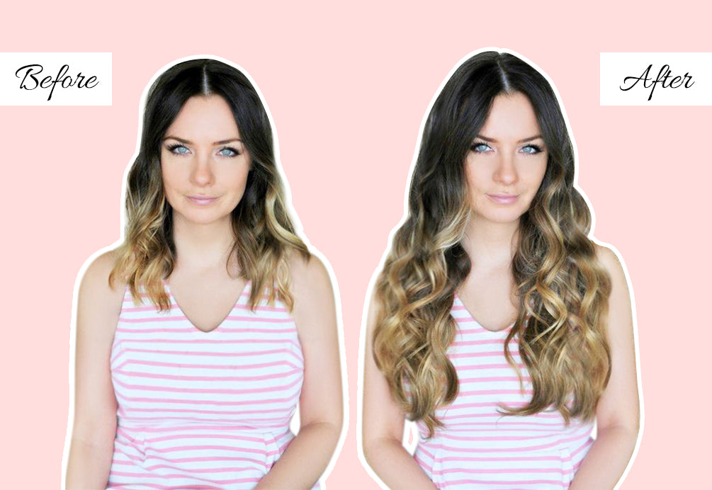 ombre hair with extensions, 20 inch long hair, hair extensions before and after