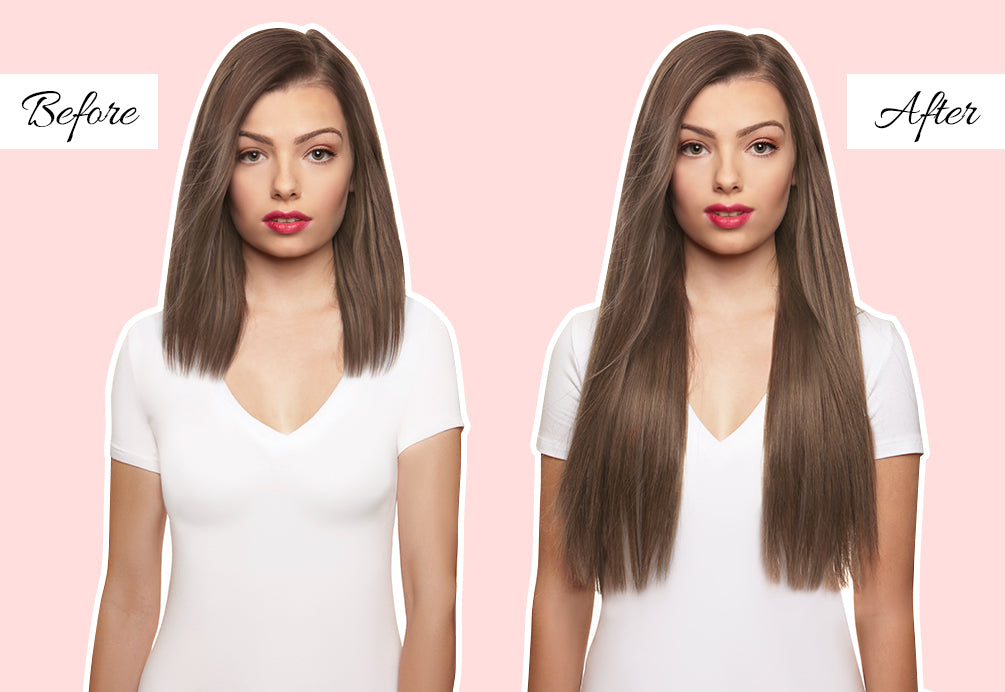 medium length hair extensions before and after, 20 in hair extensions before and after, clip in hair extensions for fine hair