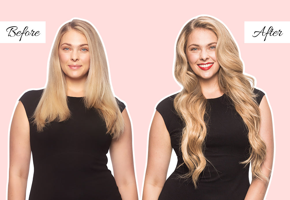 before after extensions, blonde extensions before and after, hair extensions to thicken hair