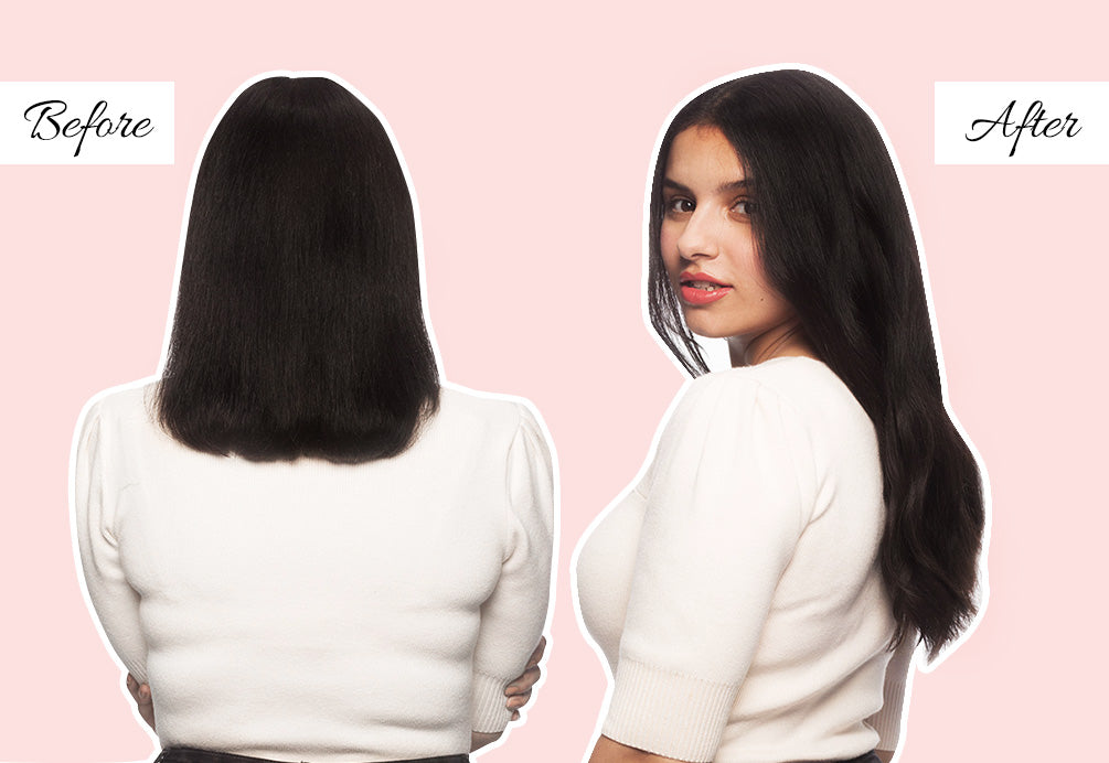 black hair extensions before and after, easiest hair extensions to apply yourself