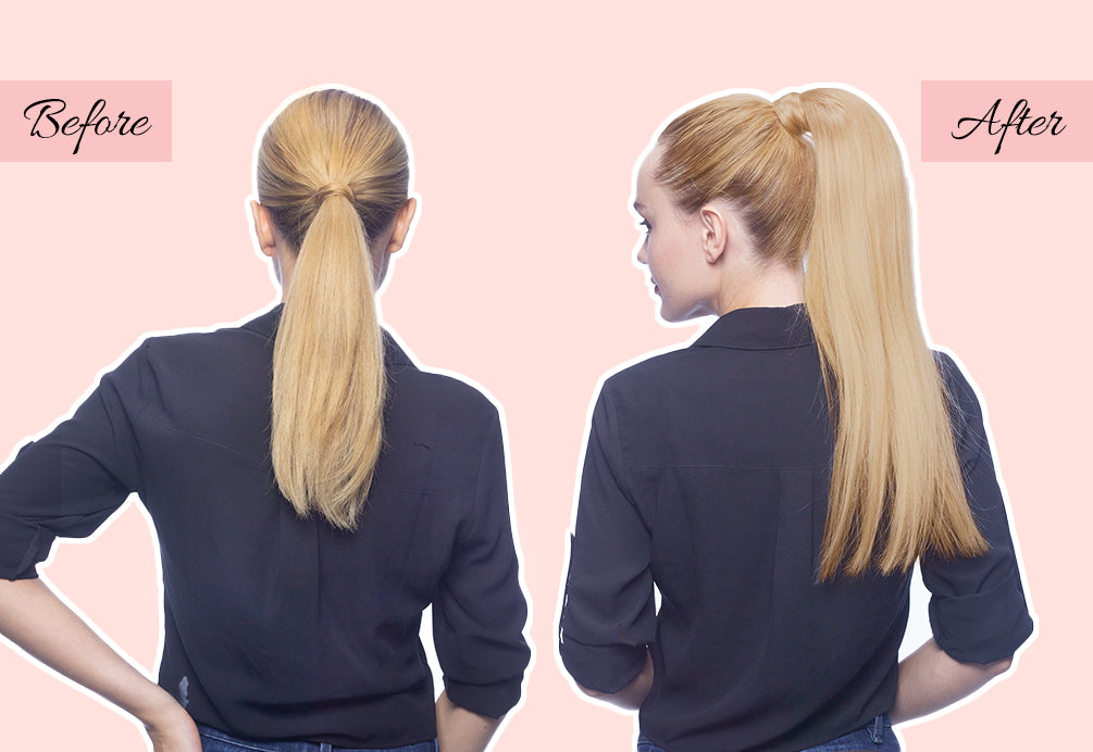 long clip in ponytail, easy ponytail extensions, blonde ponytail extension
