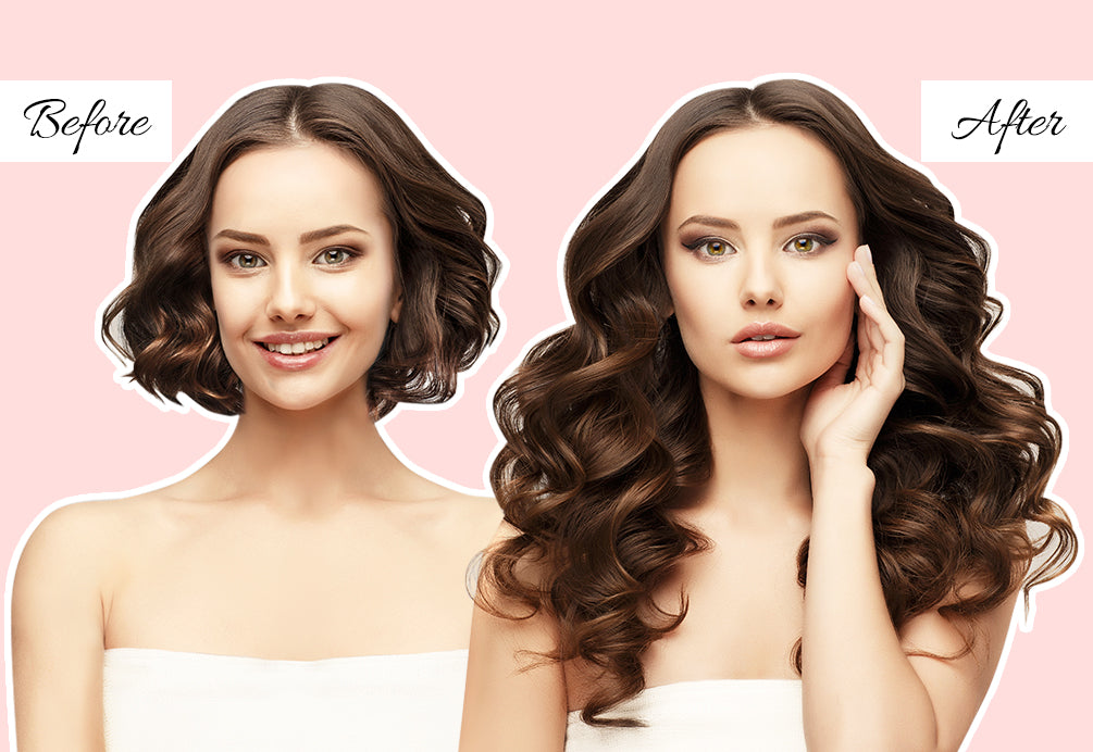 professional hair extensions before and after, how to put clip in hair extensions in short hair, short hair to extensions before and after
