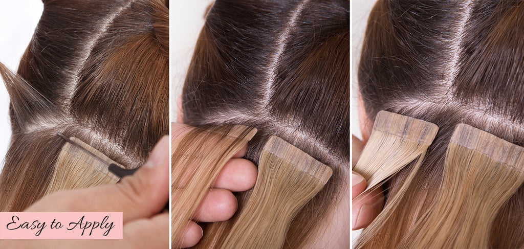 how to put in tape in extensions, how to apply tape in extensions, how to install tape in extensions