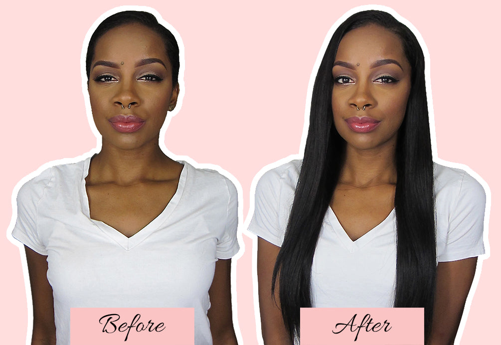 clip in hair extensions for short hair before and after, hair extensions before and after short hair, hair extensions very short hair before and after