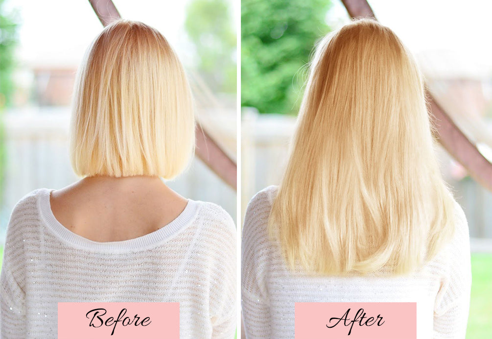 hair extensions before and after short to long, short to long hair extensions, short hair to extensions