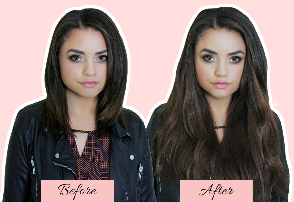 hair extensions before and after short to long, clip in extensions in short hair, hair extensions for very short hair