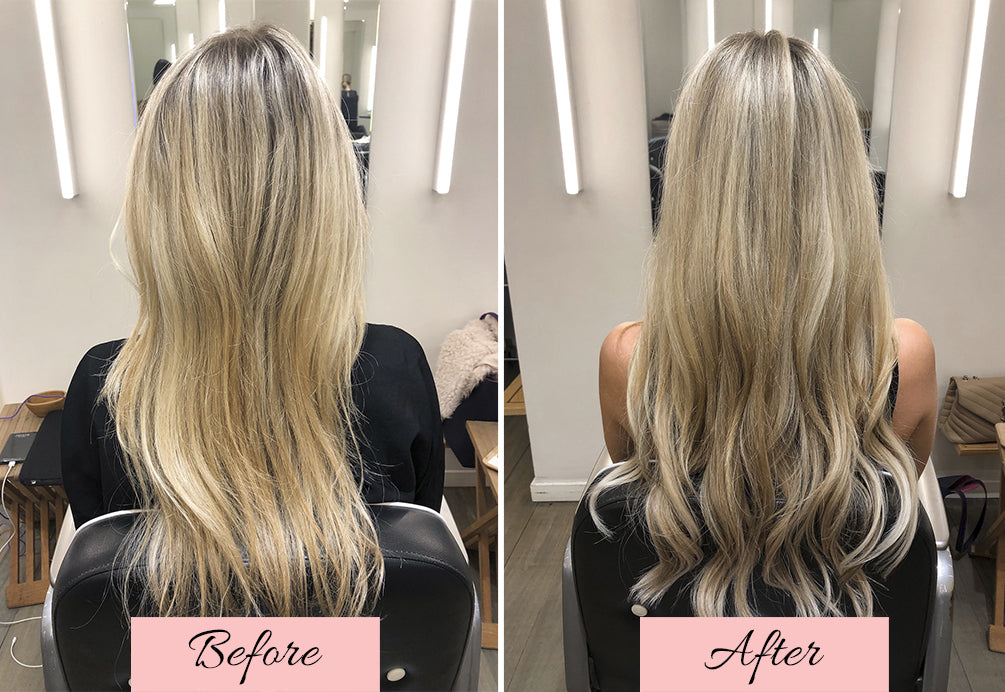 what are tape in hair extensions, before and after tape in extensions, how to install tape in extensions