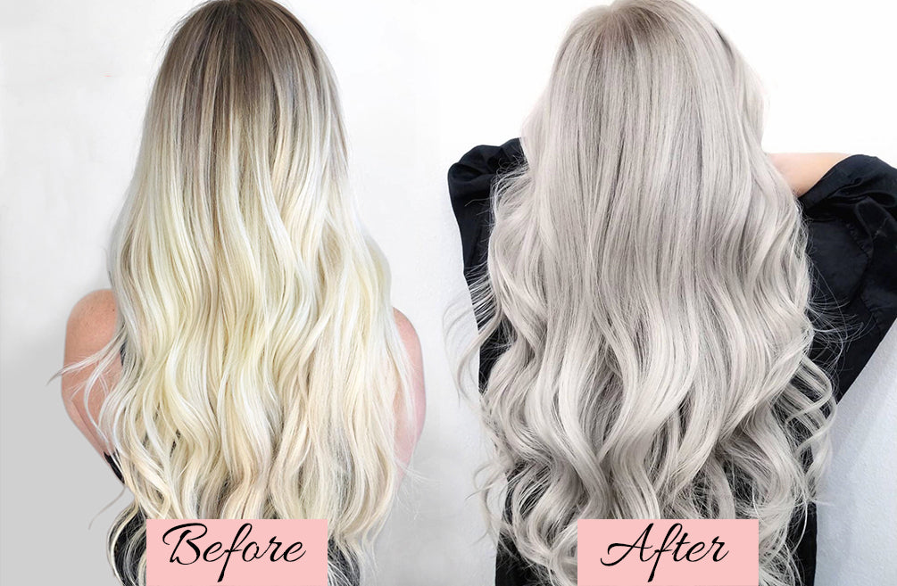 how to tone your hair extensions with purple shampoo, toning blonde hair extensions