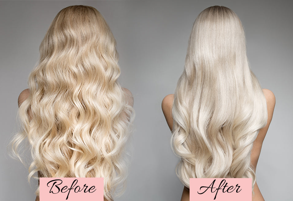 before and after toning hair extensions, how to tone blonde hair extensions