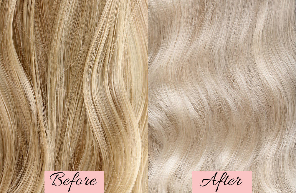 before and after toning hair extensions, purple shampoo on blonde hair, how to tone your blonde hair extensions