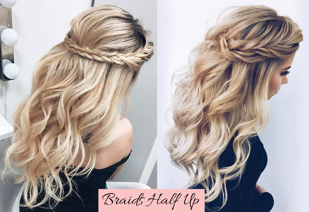 hairstyles for valentines, braids with fake hair, half up half down with clip ins