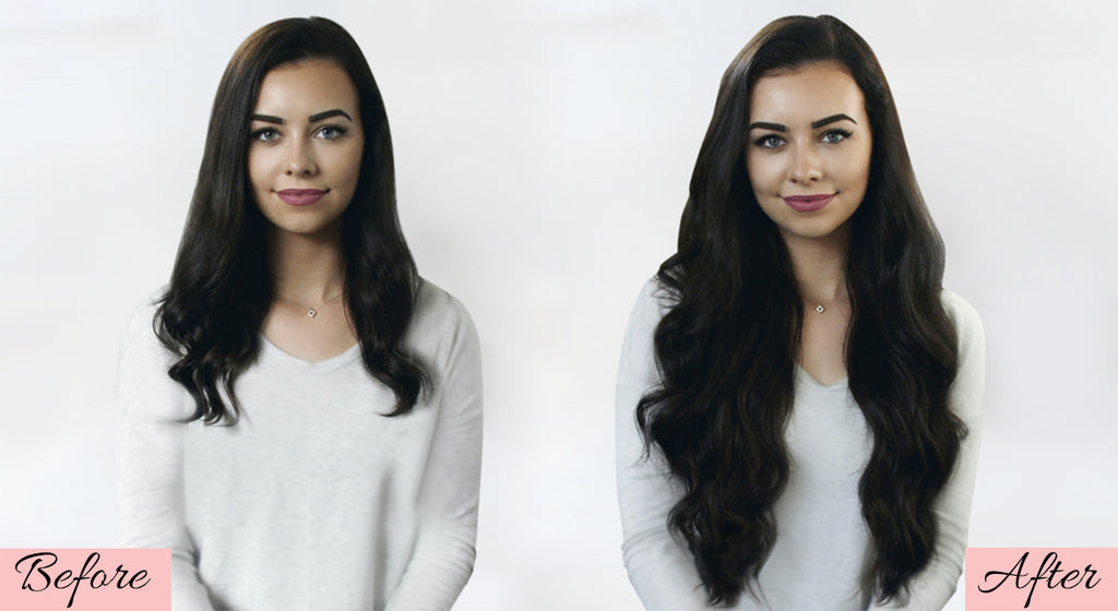 long hair extensions before and after, professional hair extensions before and after, how to put in clip in hair extensions