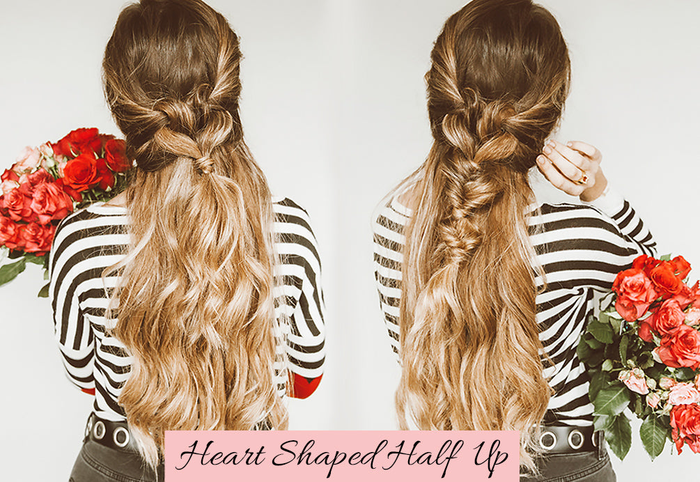 valentine's day hairstyles, valentine's day hairstyles for long hair, half up half down with extensions