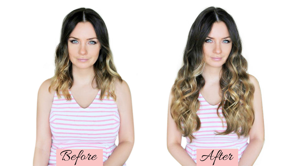before and after extensions, clip in hair extensions before and after, how to put in hair extensions, how to use clip in hair