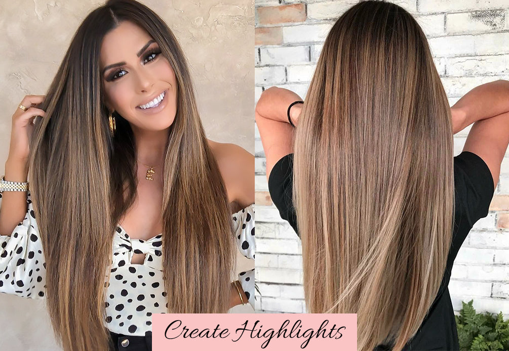highlighted clip in hair extensions, how to balayage your own hair, valentine's day hair