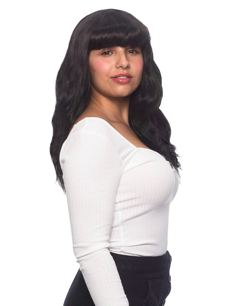Synthetic Wig Wavy With Bangs Black